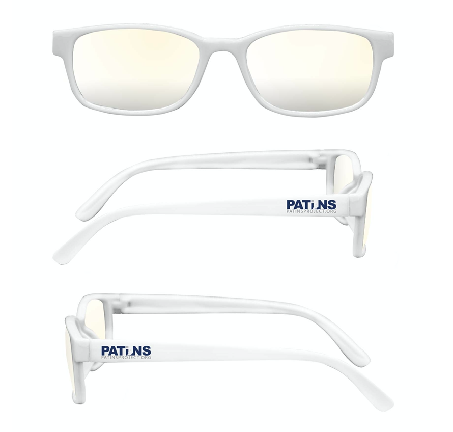 White framed blue light blocking glasses with PATINS logo on the arm.