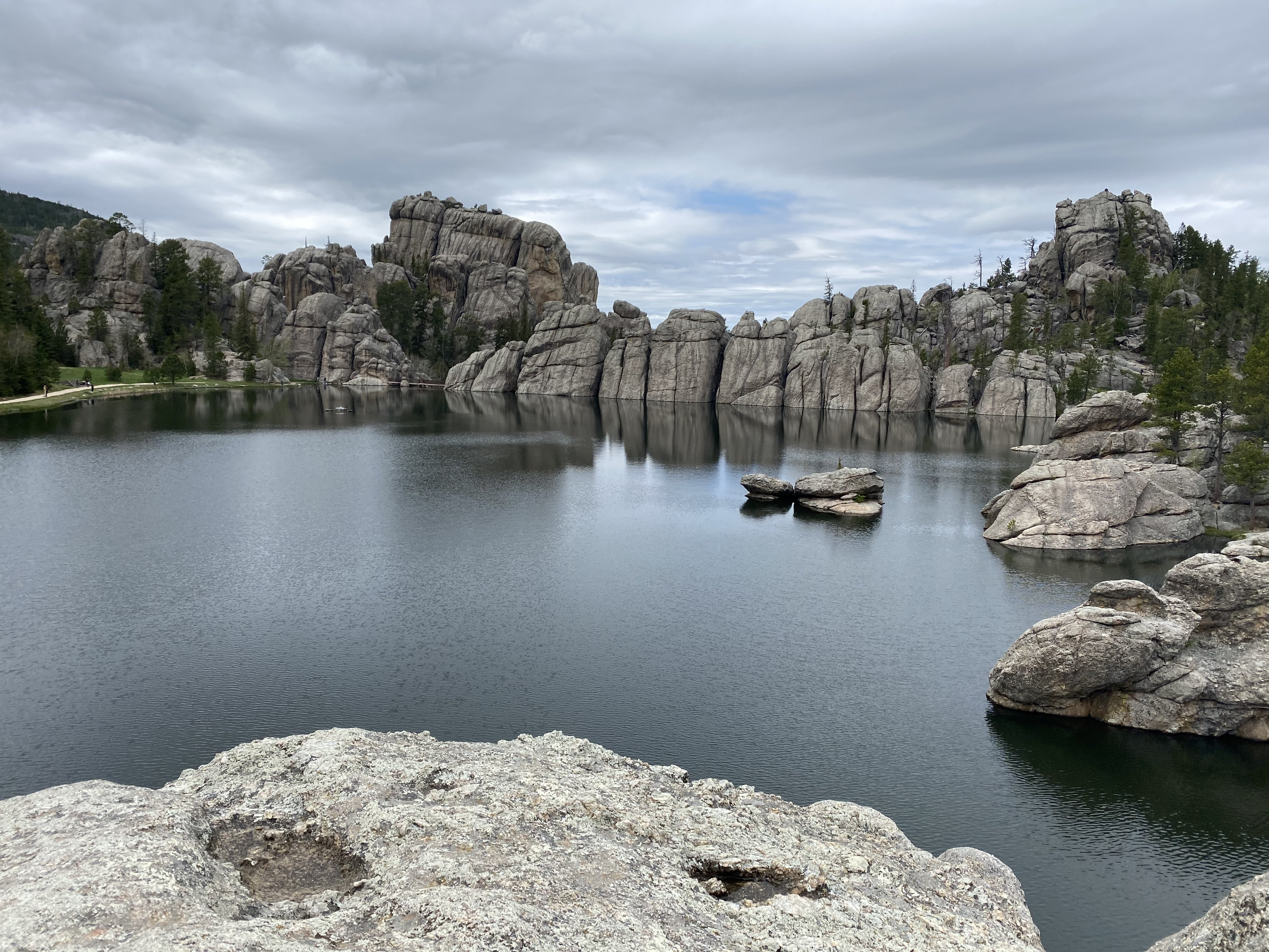 Lake with rock formations